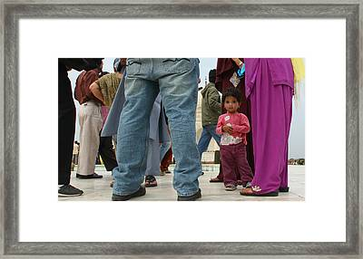 Girl With Family At Taj Mahal Framed Print by Amanda Stadther