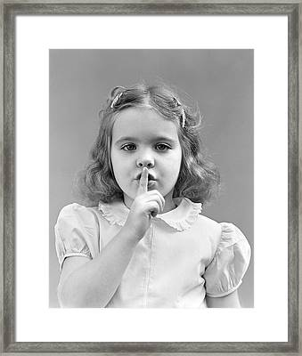 Girl With Finger To Lips, C.1940-50s Framed Print