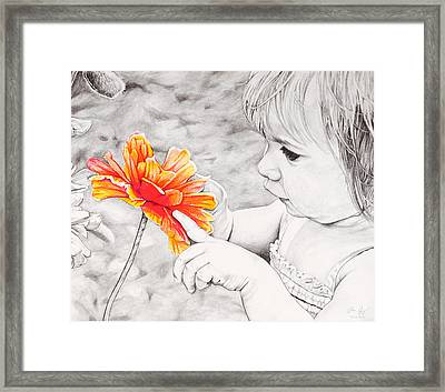 Girl With Flower Framed Print by Aaron Spong
