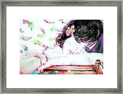 Girl With Flower In Her Hair Framed Print