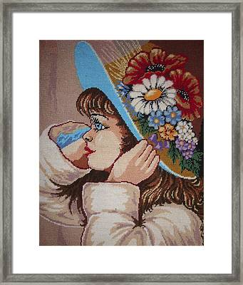 Girl With Flowers Framed Print by Eugen Mihalascu