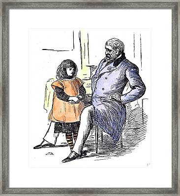 Girl With Grandfather 1873 Grandpapa Paterfamilias At Home Framed Print