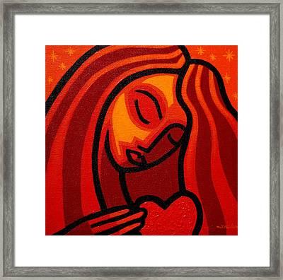 Girl With Heart Framed Print by John  Nolan