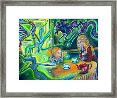 Girl With Her Mom And Great Imagination Framed Print by Vanja Zogovic