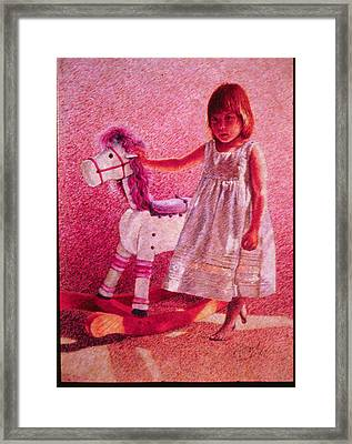 Girl With Hobby Horse Framed Print