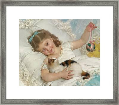 Girl With Kitten Framed Print by Emile Munier