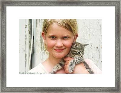 Girl With Kitten Framed Print by PainterArtist FIN