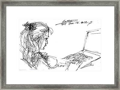 Girl With Laptop  Framed Print