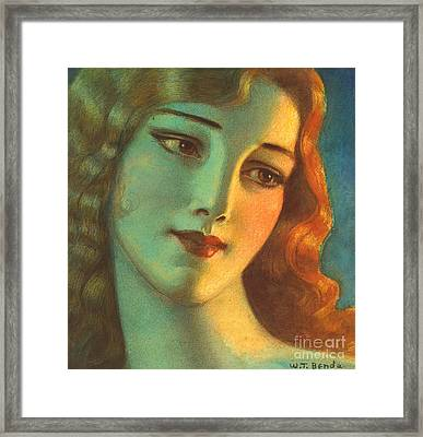 Girl With Long Hair 1923 Framed Print by Padre Art