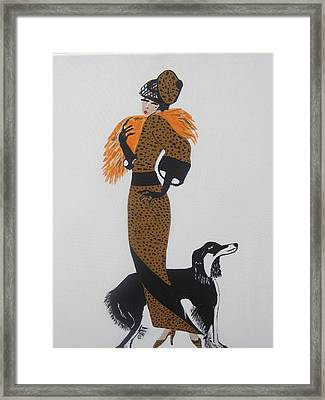 Framed Print featuring the painting Girl With Orange Fur by Nora Shepley