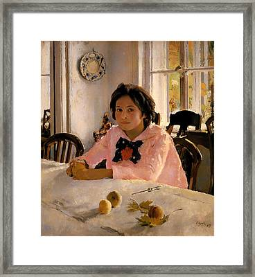 Girl With Peaches Framed Print by Mountain Dreams