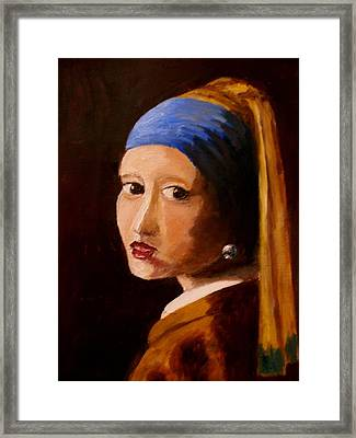 Girl With Pearl Framed Print by Constantinos Charalampopoulos