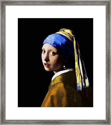 Framed Print featuring the digital art Girl With Pearl Ear Ring by Johannes Vermeer