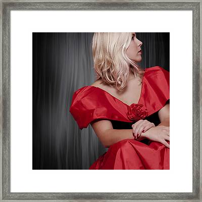 Girl With Red Dress Framed Print by Joana Kruse