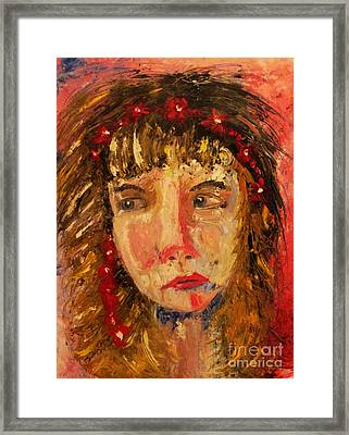Girl With Red Flowers In Her Hair Framed Print by Judy Morris