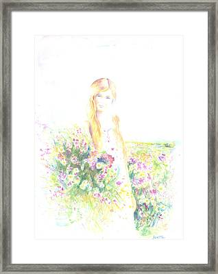 Girl With Red Hair Framed Print by Jovica Kostic