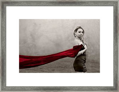 Girl With Red Scarf Framed Print