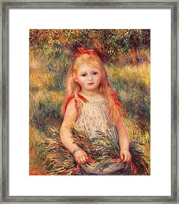 Girl With Sheaf Of Corn Framed Print by Pierre-Auguste Renoir