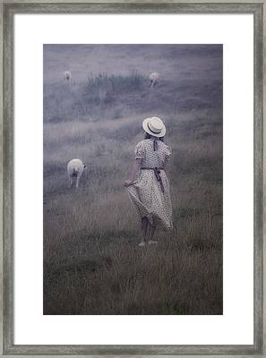 Girl With Sheeps Framed Print