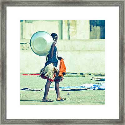 Girl With The Big Steel Bowl Framed Print by Ronda Broatch