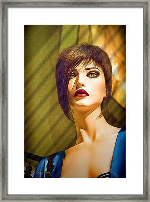 Girl With The Blue Dress On Framed Print