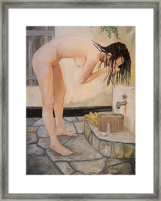 Girl With The Golden Towel Framed Print by Alan Lakin