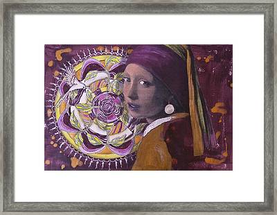 Girl With The Pearl Earring And Mandala Framed Print by Pat Devereaux