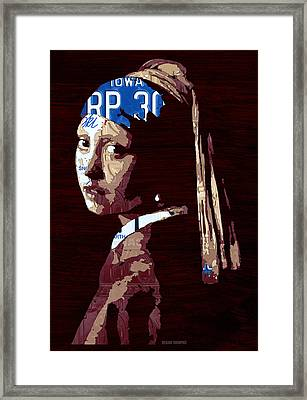 Girl With The Pearl Earring By Johannes Vermeer License Plate Art Framed Print by Design Turnpike