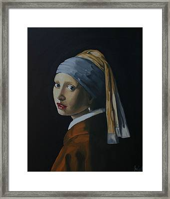 Girl With The Pearl Earring Recreation Framed Print by Jason Welter