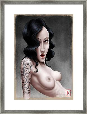 Girl With The Tribal Tattoo Framed Print by Andre Koekemoer