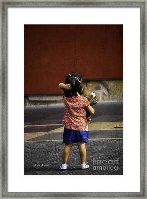 Girl With Toy Dog Framed Print by Mary Machare