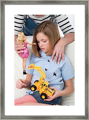 Girl With Toy Truck Framed Print by Lea Paterson