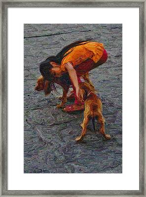 Girl With Two Dogs Framed Print