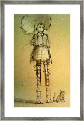 Girl With Umbrella And Cat Framed Print by H James Hoff