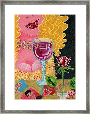 Girl With Wine Glass Framed Print by Genevieve Esson