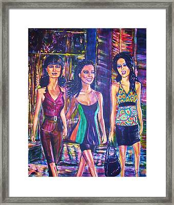 Girlfriends Framed Print by Linda Vaughon