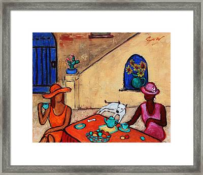 Girlfriends' Teatime II Framed Print