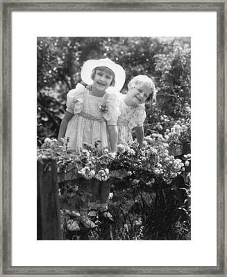 Girlfriends With Flowers Framed Print