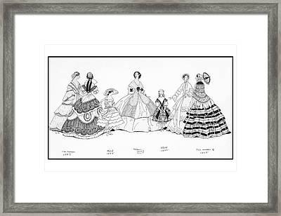 Girls And Women Wearing Historic Dresses Framed Print