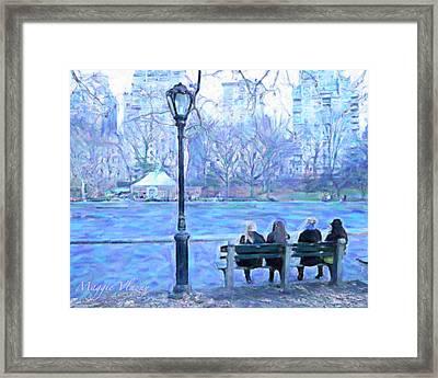 Girls At Pond In Central Park Framed Print
