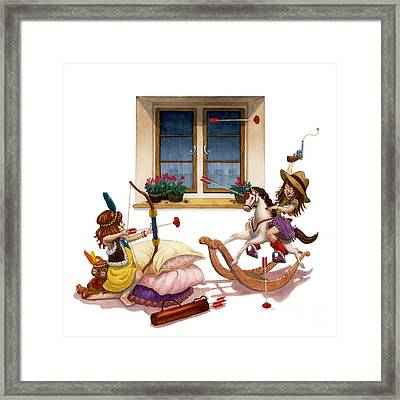 Girls Cowgirl Vs Indian Framed Print by Isabella Kung
