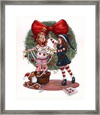 Girls Decorating For Christmas Framed Print by Isabella Kung