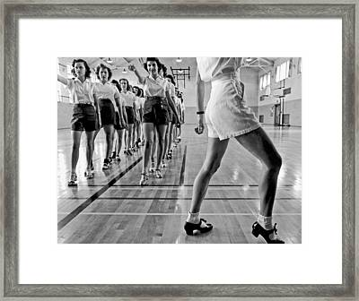 Girls In A Tap Dancing Class Framed Print by Underwood Archives