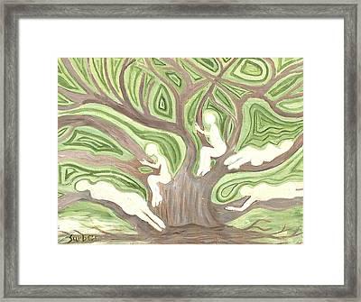 Girls In A Tree Framed Print