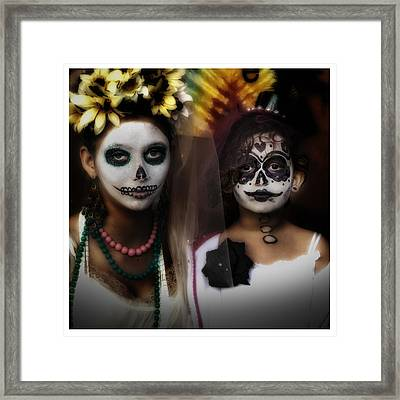Girls In Costume For Dia Los Muertos Framed Print