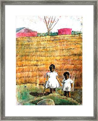 Girls In The Field Framed Print by Ron Carson