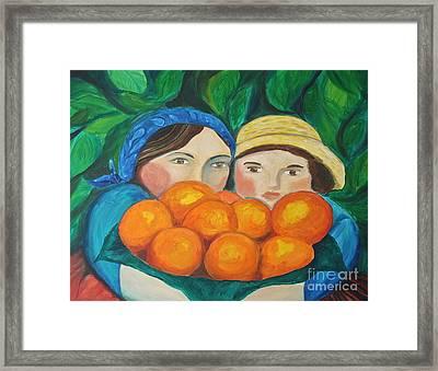 Girls In The Orange Grove Framed Print by Teresa Hutto