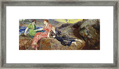 Girls On The Shore Framed Print by Max Klinger