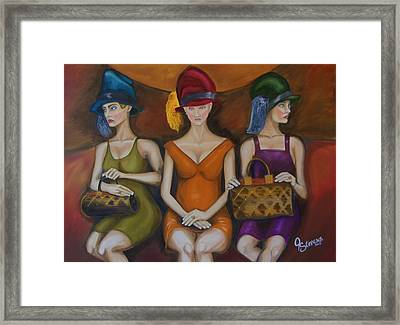Girls On Train Framed Print by John Stevens