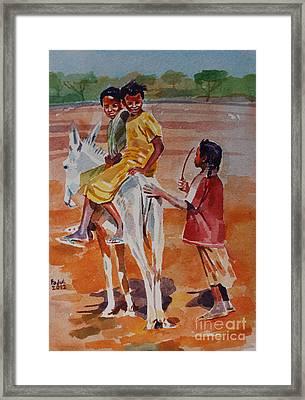 Girls Play Framed Print by Mohamed Fadul